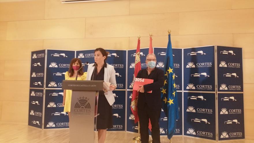 Miembros del Grupo Parlamentario Socialista durante la rueda de prensa.