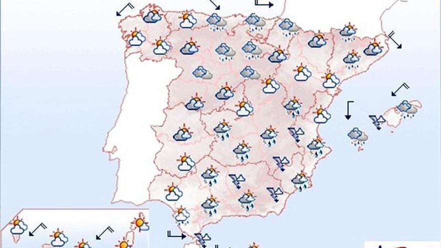 Mañana, tormentas en el sureste peninsular y Baleares