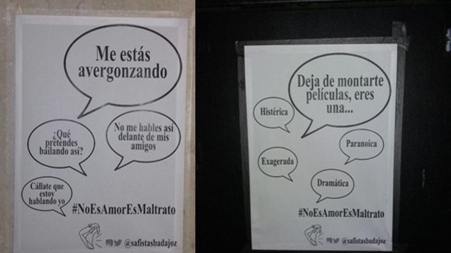 Algunos de los carteles que pueden verse por Badajoz