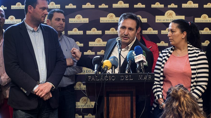 Carrancio, González y Vielva durante su comparecencia pública. | JOAQUÍN GÓMEZ SASTRE
