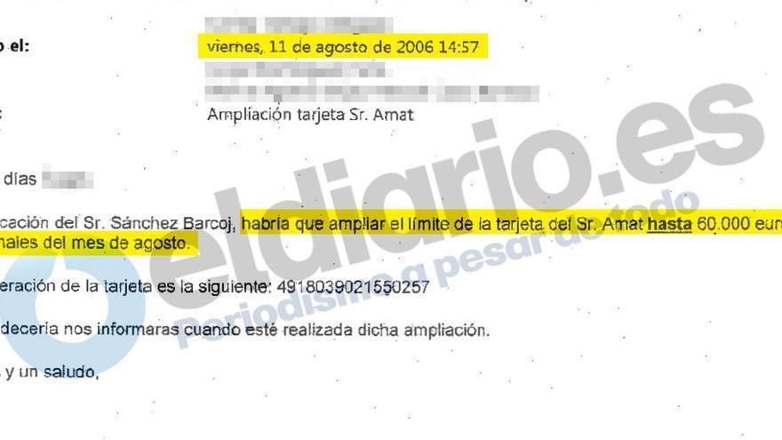 Amplicación del limite de la tarjeta de Matías Amata en agosto de 2006