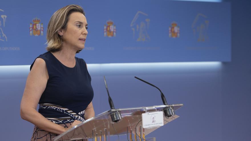 La portavoz del PP en el Congreso de los Diputados, Cuca Gamarra, interviene en una rueda de prensa de Portavoces, a 29 de junio de 2021, en la Sala Constitucional del Congreso de los Diputados, Madrid, (España).