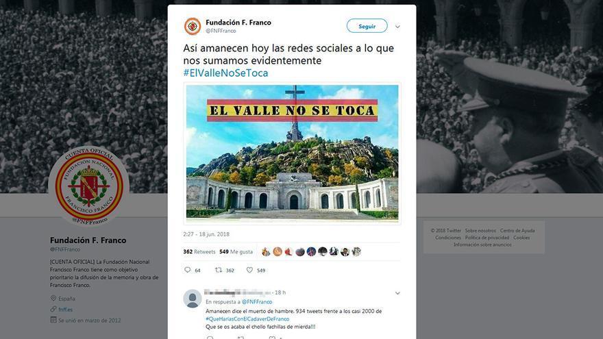 Publicación en Twitter de la Fundación Franco.