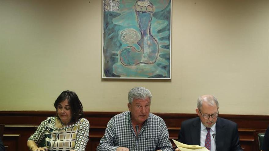 El presidente de la Comisión de Investigación relativa a la presunta financiación ilegal del PP, Pedro Quevedo (c), junto a la vicepresidenta primera, Beatriz Escudero (i)