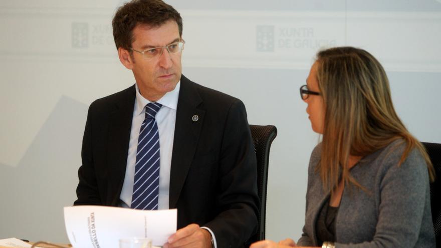 Feijóo con Elena Muñoz cuando era conselleira de Hacienda