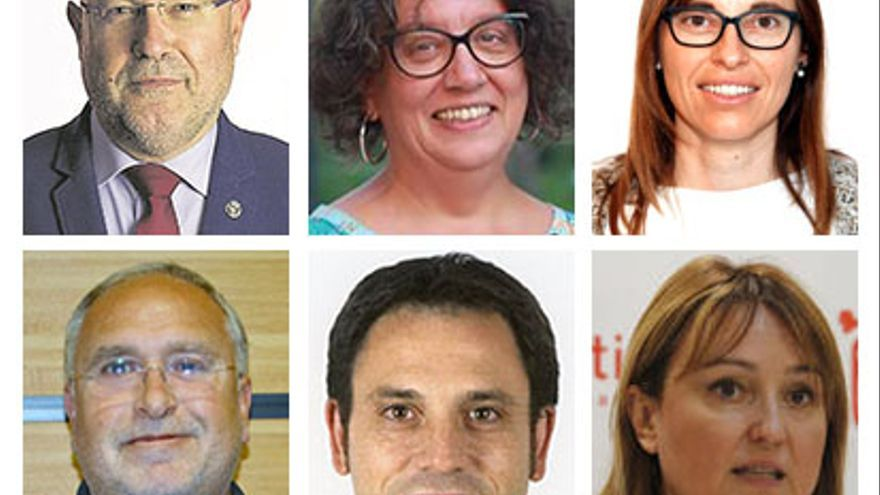 Arriba: Emili Obiol, Daría Terrádez y María Teresa Cháfer; abajo: Antoni Such, Miguel Ángel Lorente y Xelo Angulo.