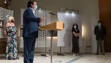 Fernández Vara con Encarna Chacón (CCOO), Patrocinio Sánchez (UGT) y Javier Peinado (Creex)
