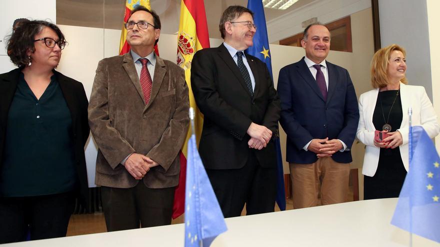 Ximo Puig ha asistido al acto acompañado del conseller de Hacienda, Vicent Soler