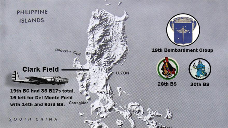 Localización de las bases aéreas del 19º Grupo de Bombardeo en diciembre de1941. Fuente: Little Rock Air Force Base (https://www.littlerock.af.mil/)