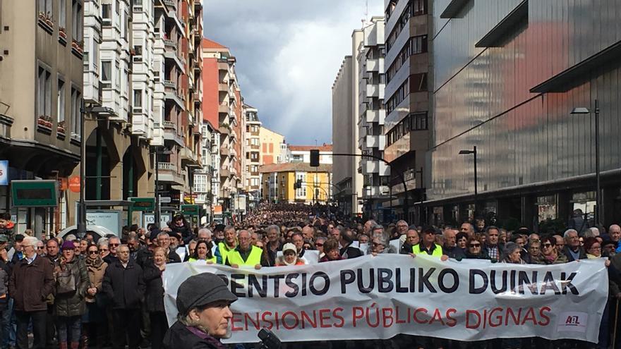 Manifestación por las pensiones, este domingo en Vitoria.