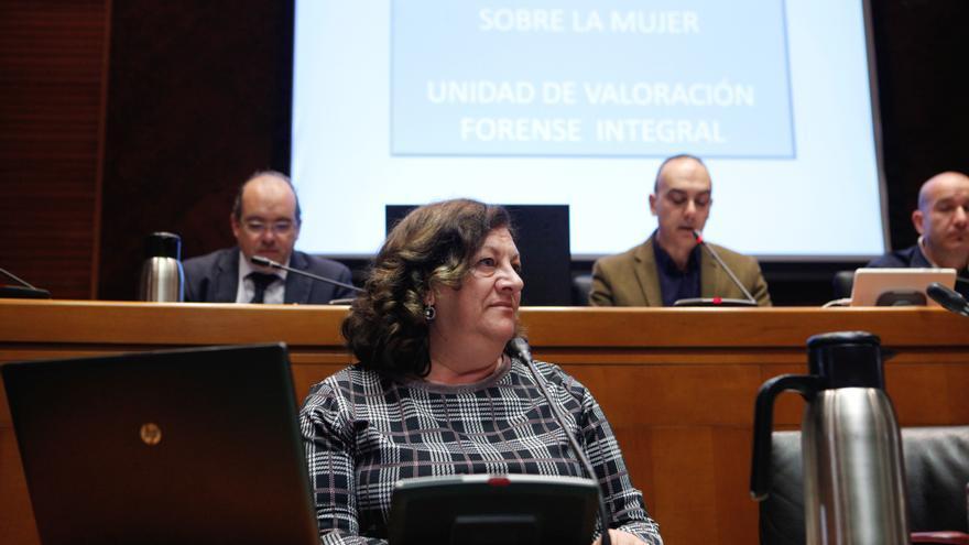 La directora  general de Justicia e Interior del Gobierno de Aragón, María Ángeles Júlvez, en una comparecencia en las Cortes de Aragón