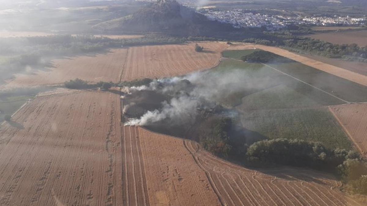 Vista aérea del fuego