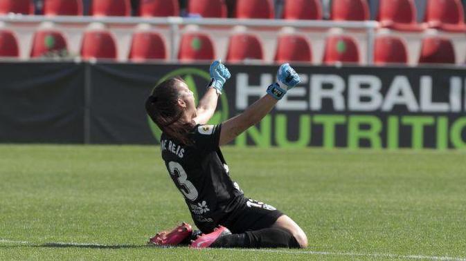 Aline Reis celebra el empate en Madrid