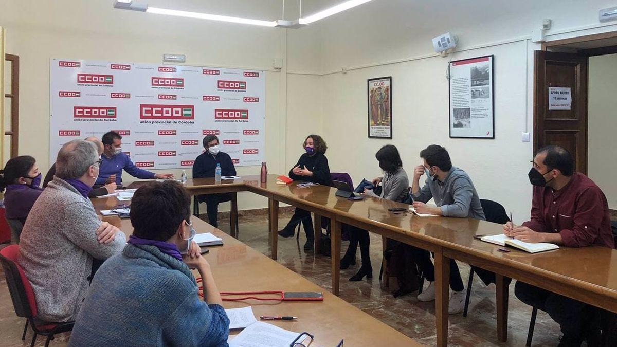 Reunión de IU, Podemos y CCOO sobre el ámbito educativo.