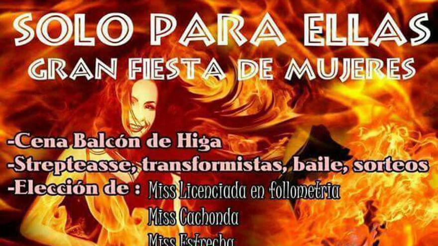 Cartel de la fiesta 'Solo para mujeres', de la comisión de fiestas de Fátima, en Güímar