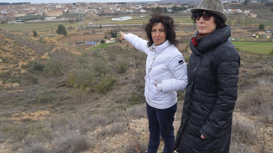"""Pilar Rodríguez, presidenta de la asociación """"El Dique"""", señala una de las obras realizadas en el barrio caspolino."""