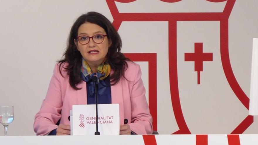 La vicepresidenta valenciana, Mónica Oltra, en rueda de prensa.