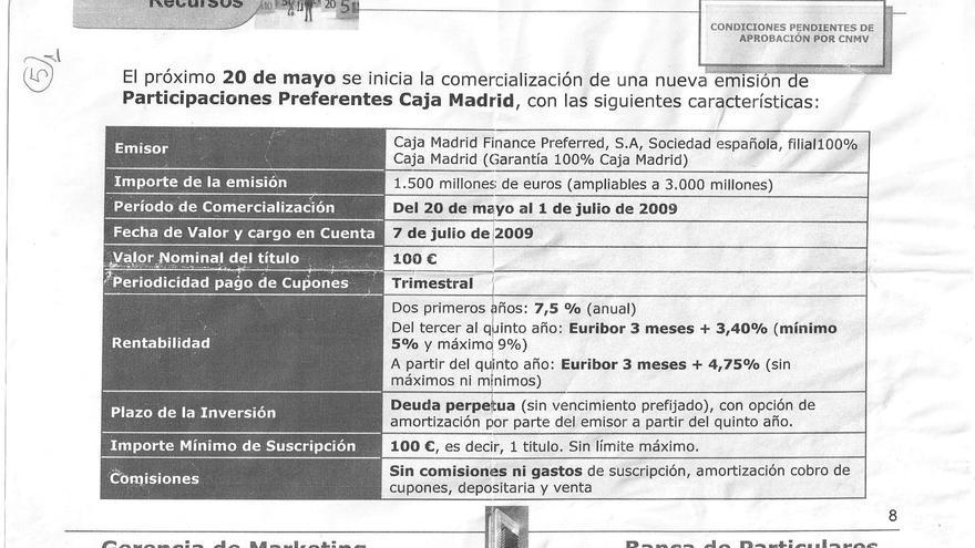 Documento sobre condiciones de comercialización de preferentes de Caja Madrid.