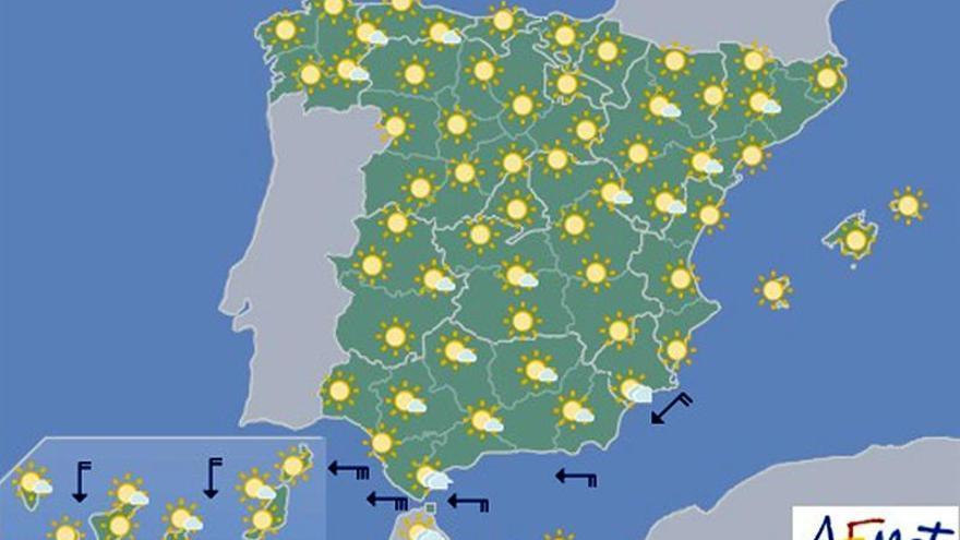 Temperaturas significativamente altas en gran parte del interior peninsular