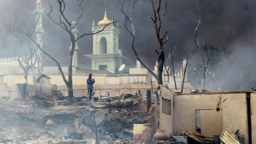 Mezquita destruida en Birmania. Foto: Burma Human Rights Network