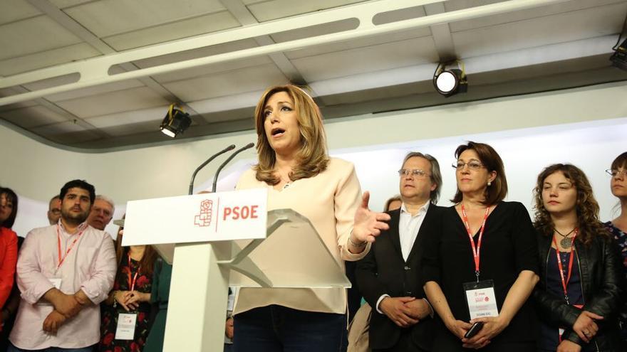 Susana Díaz, en Ferraz tras su derrota en las primarias del PSOE.