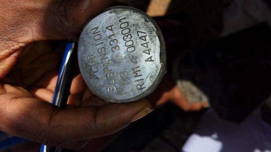 Uno de los restos de armas encontrados por el equipo de la ONG Mwatana.