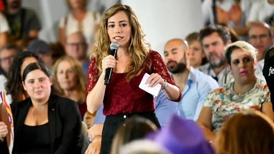 María Teresa Pérez, en un mitin de Podemos