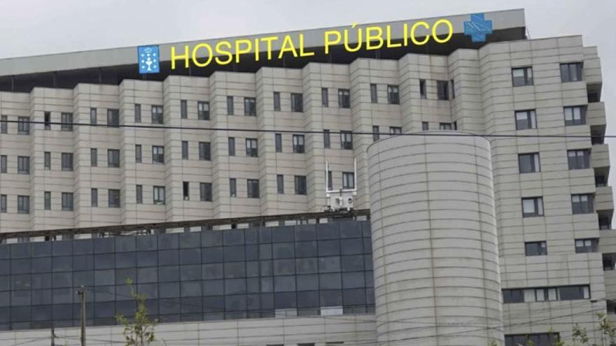 Simulación del rótulo que será instalado en el hospital de Pontevedra, incluida en la documentación del contrato