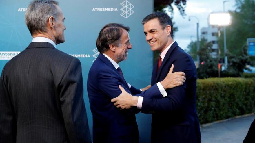Pedro Sánchez, a su llegada a Atresmedia.