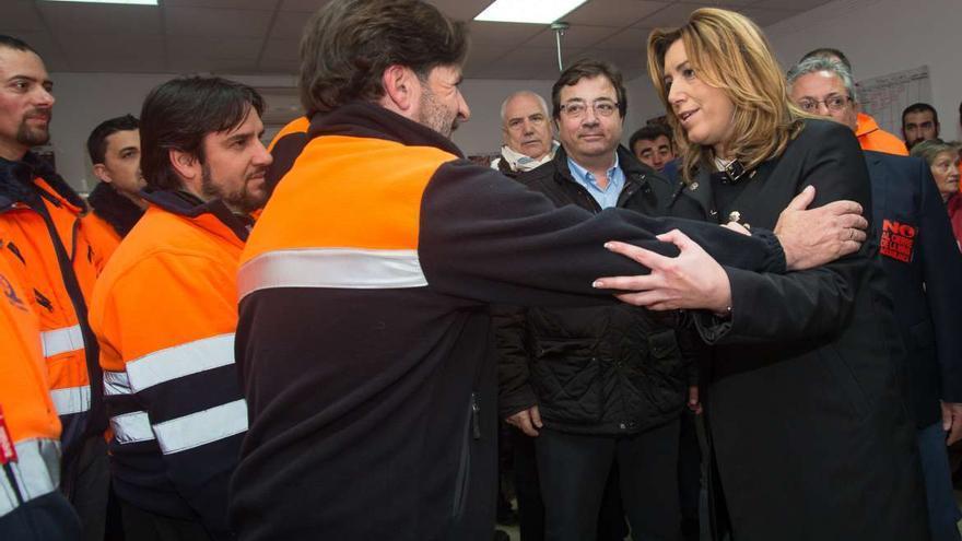 Susana Diaz Fernández Vara abrazo mineros Aguablanca Monesterio