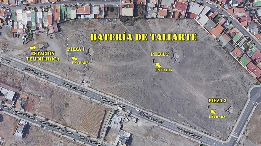 Vista aérea de la batería de Taliarte.