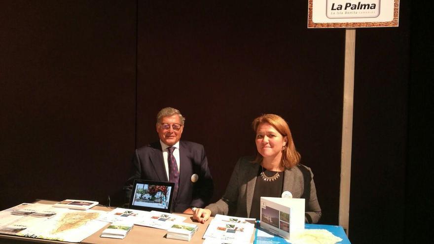 Alicia Vanoostende, consejera de Turismo del Cabildo de La Palma, en el encuentro de trabajo celebrado en Bruselas