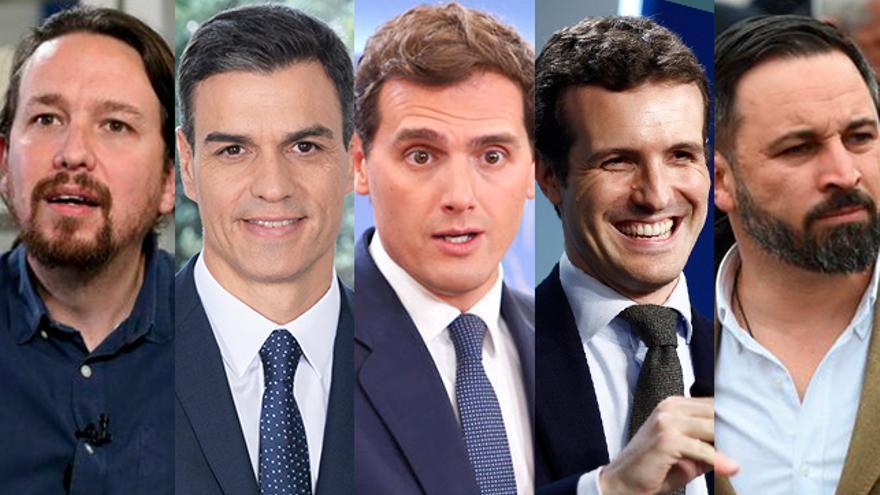 Los cinco líderes de los principales partido que se repartirán el poder de España.