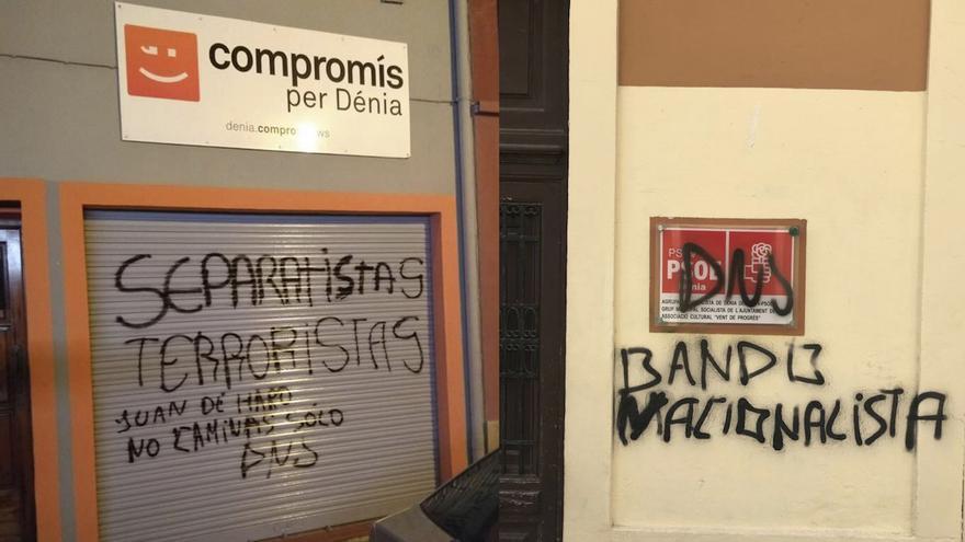 Pintadas de extrema derecha en las sedes del PSPV y Compromís, en Dénia.