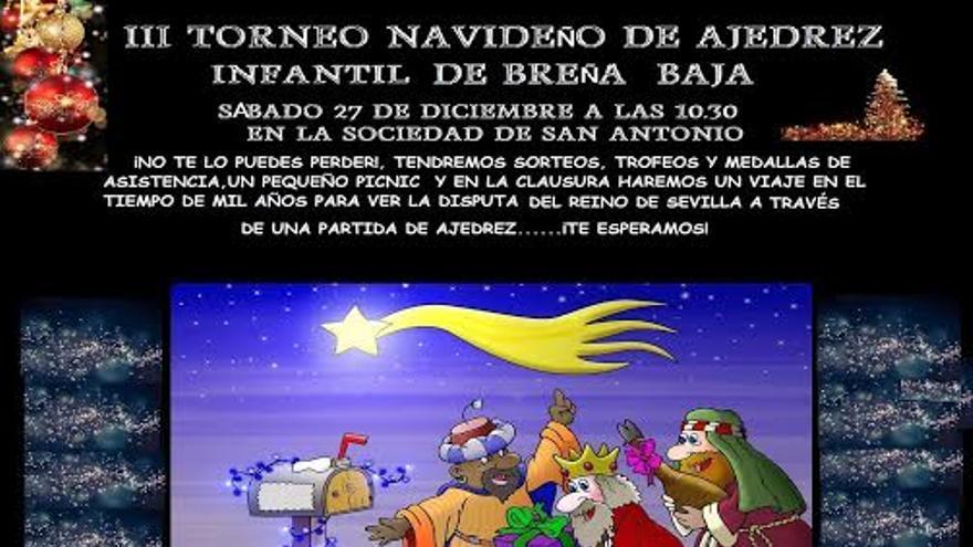 En la imagen, cartel de la Torneo Infantil de Ajedrez de Breña Baja.