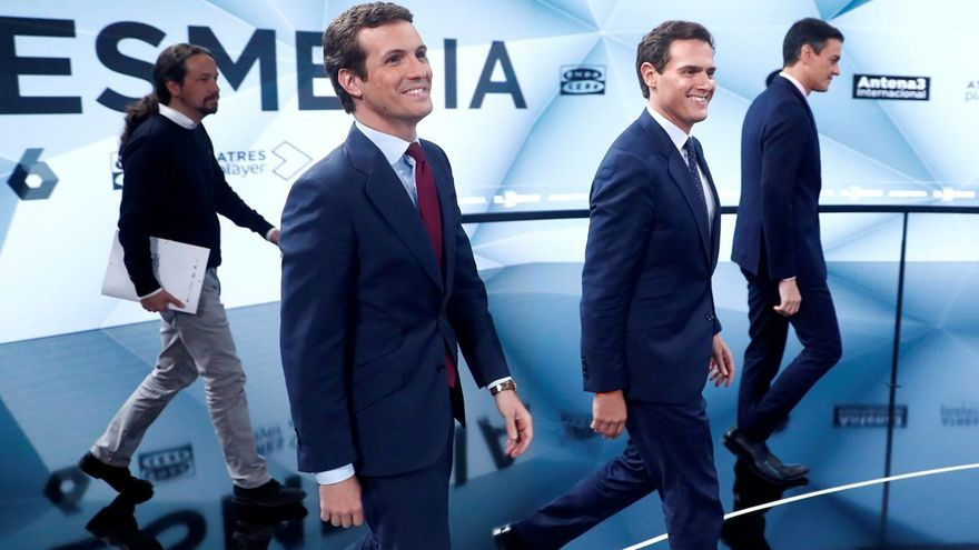 Iglesias, Casado, Rivera y Sánchez en un debate electoral. EFE