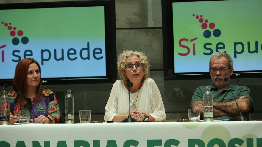 Asun Frías, María Nebot y José De León en la presentación de Sí Se Puede Gran Canaria
