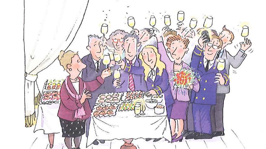 Celebración de la despedida de la diputada Pilar / Ilustración Roser Capdevila para 'Conociendo el Congreso de los Diputados'