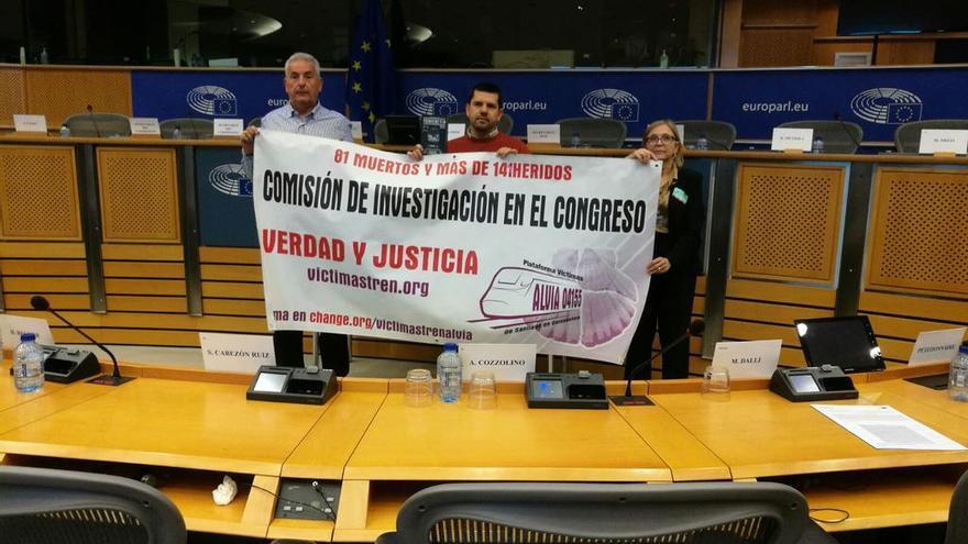 Víctimas del accidente de Angrois, en el Parlamento Europeo