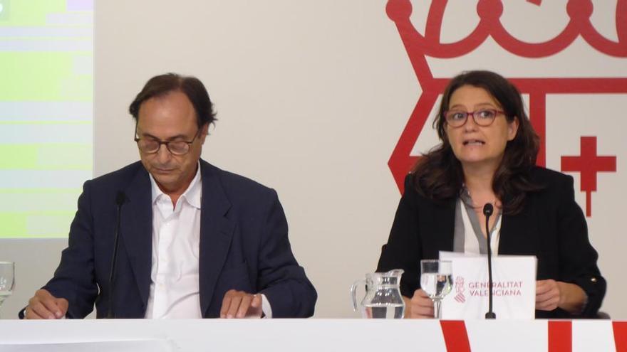 El conseller de Hacienda, Vicent Soler, y la vicepresidenta del Consell, Mónica Oltra.