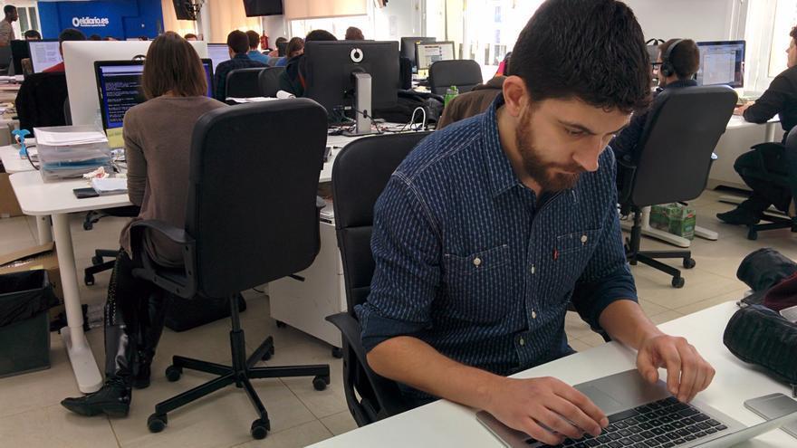 José A. Pérez en la redacción de eldiario.es