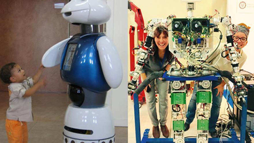 Robots desarrollados por el grupo Robotics Lab de la Universidad Carlos III. A la izqda., Maggie. A la dcha., TEO con Concepción Monje y la diseñadora Marina Anaya