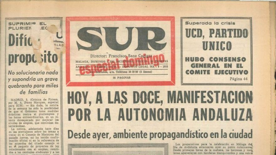 Portada del DIario Sur del 4 de diciembre de 1977