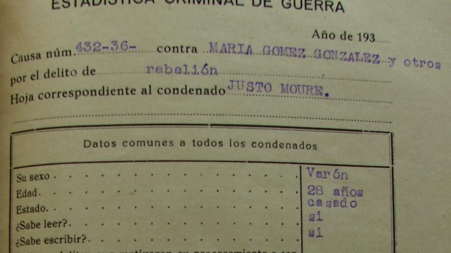 Documentación oficial sobre el asesinato de Justo Moure