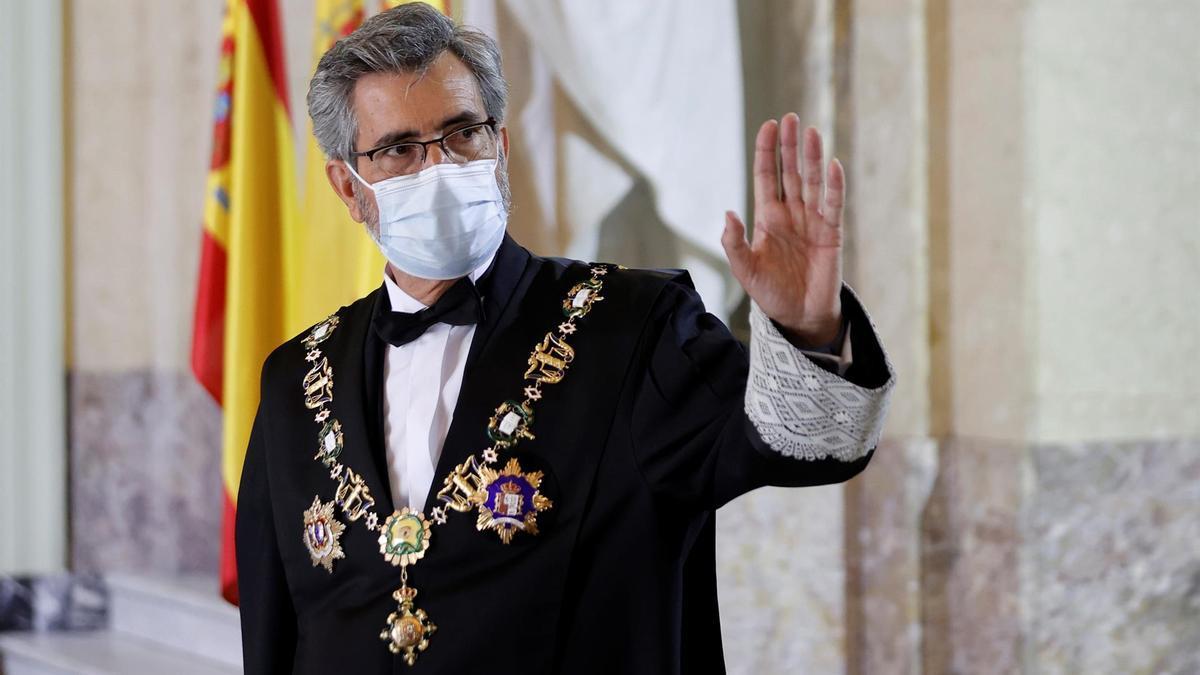 El presidente del Tribunal Supremo y del Consejo General del Poder Judicial, Carlos Lesmes durante la celebración este lunes del acto de apertura del Año Judicial en el Tribunal Supremo en Madrid.