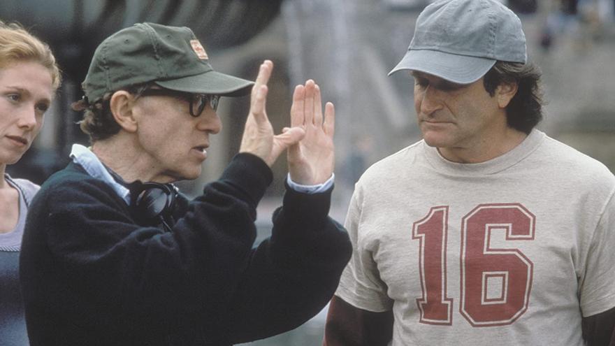 Woody Allen y Robin Williams en el rodaje de 'Desmontando a Harry'