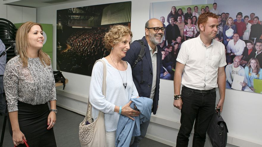 Ylenia Pulido, María Nebot, Juan Manuel Brito y Alejandro Pérez, en la reunión entre Nueva Canarias y Podemos (ALEJANDRO RAMOS)