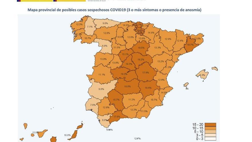 Mapa provincial de posibles casos sospechosos de COVID-19, a fecha 13 de mayo de 2020