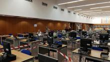 Centro operativo de los rastreadores de Gran Canaria, en la Biblioteca del Estado.