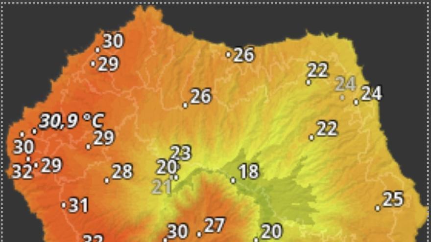 Mapa de HD Meteo La Palma donde se indica la temperatura que, a las 08.40 horas de este domingo, 24 de mayo, se registraba en distintos puntos de La Palma.